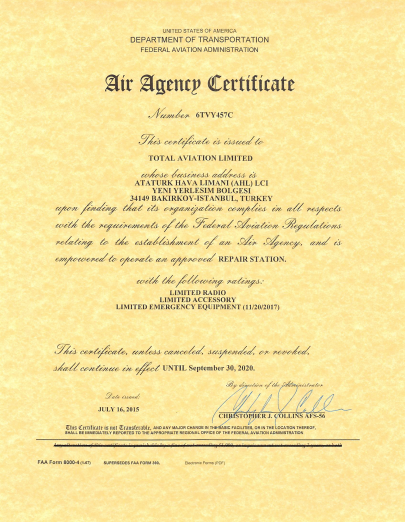 FAA 14 CFR Part 145 Certificate No. : 6TVY457C
